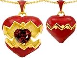 Original Star K™ Puffed Red Enamel Heart Pendant with January Birthstone Genuine Garnet Surprise Inside style: 303192