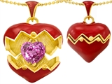 Star K™ Puffed Red Enamel Heart Pendant Necklace with October Birth Month Simulated Pink Sapphire Surprise Insi style: 303195