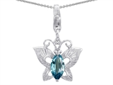 Star K™ Butterfly Pendant Necklace Made with Simulated Aquamarine style: 303210