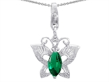 Star K™ Butterfly Pendant Necklace Made with Simulated Emerald style: 303212