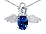 Star K™ Angel Of Love Protection Pendant Necklace With Oval 8x6mm Created Sapphire style: 303218