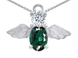 Star K™ Angel Of Love Protection Pendant Necklace Made With Oval 8x6mm Simulated Emerald style: 303219