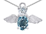 Original Star K™ Angel Of Love Protection Pendant Made With Oval 8x6mm Simulated Aquamarine style: 303222