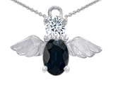 Star K™ Angel Of Love Protection Pendant Necklace Made With Oval 8x6mm Genuine Sapphire style: 303223