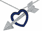 Star K™ Created Sapphire Heart With Love Arrow Pendant Necklace style: 303269