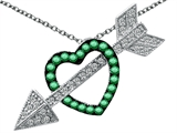Star K™ Simulated Emerald Heart With Love Arrow Pendant Necklace style: 303270