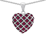 Star K™ Created Ruby Puffed Heart Pendant Necklace style: 303273
