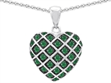 Star K™ Simulated Emerald Puffed Heart Pendant Necklace style: 303277