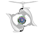 Star K™ Round 6mm Rainbow Mystic Topaz Dolphin Pendant Necklace style: 303300