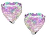 Star K™ 7mm Heart Shape Created Pink Opal Earrings Studs style: 303302