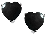 Star K™ 7mm Heart Shape Black Onyx Earrings Studs style: 303304