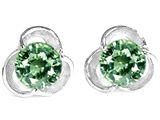 Original Star K™ Round 6mm Simulated Green Sapphire Flower Earrings Studs style: 303324