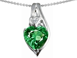 Star K™ Large 10mm Heart Shape Simulated Emerald Heart Pendant Necklace style: 303327