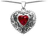 Star K™ Bali Style Puffed 7mm Heart Created Ruby Pendant Necklace style: 303346