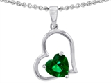 Star K™ 7mm Heart Shape Simulated Emerald Pendant Necklace style: 303352
