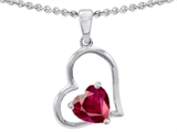 Star K™ 7mm Heart Shape Created Ruby Pendant Necklace style: 303353