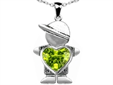 Star K™ Boy Holding 8mm Mother Heart August Birth Month Pendant Necklace with Simulated Peridot style: 303386
