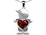 Star K™ Boy Holding 8mm Mother Heart January Birth Month Pendant Necklace with Simulated Garnet style: 303393