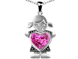 Star K™ Girl Holding 8mm Mother Heart September Birth Month Pendant Necklace with Created Pink Sapphire style: 303407