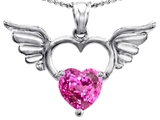 Star K™ Wings Of Love Birth Month Pendant Necklace with 8mm Heart Shape Created Pink Sapphire style: 303444