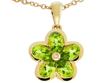 Tommaso Design™ .85 inch long Flower Pendant Necklace made with one Diamond and Genuine Pear Shape Peridot style: 303459