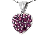 Tommaso Design™ 1inch Puffed Heart with Genuine Rhodolite Garnet Pendant Necklace style: 303467