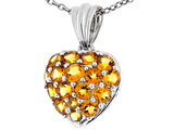 Tommaso Design™ 1inch Puffed Heart with Genuine Citrine Pendant Necklace style: 303477