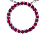 Tommaso Design™ 19mm. Circle Of Love Pendant Necklace made with Genuine Quality Ruby style: 303491