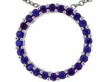 Tommaso Design™ 19mm. Circle Of Love Pendant Necklace made with Genuine Quality Sapphire style: 303494