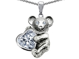 Star K™ Love Bear Hugging Birthstone of April 8mm Heart Shape Genuine White Topaz style: 303522