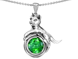 Star K™ Cat Lover Pendant Necklace with May Birth Month Round 7mm Simulated Emerald style: 303529
