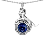 Star K™ Cat Lover Pendant Necklace with September Birth Month Round 7mm Created Sapphire style: 303533