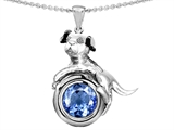 Star K™ Dog Lover Pendant Necklace with March Birth Month Round 7mm Simulated Aquamarine style: 303540