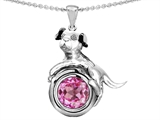 Star K™ Dog Lover Pendant Necklace with September Birth Month Round 7mm Created Pink Sapphire style: 303544