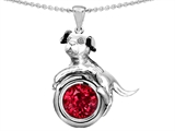Star K™ Dog Lover Pendant Necklace with July Birth Month Round 7mm Created Ruby style: 303545