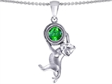 Star K™ Cat Lover Pendant Necklace with May Birth Month Round 7mm Simulated Emerald style: 303558