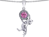 Star K™ Cat Lover Pendant Necklace with September Birth Month Round 7mm Created Pink Sapphire style: 303560