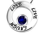 Star K™ Live/Love/Laugh Circle of Life Pendant Necklace with September Birth Month Round 7mm Created Sapphire style: 303584