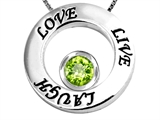 Star K™ Live/Love/Laugh Circle of Life Pendant Necklace with August Birth Month Round 7mm Simulated Peridot style: 303587
