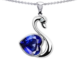 Star K™ Large Love Swan Pendant Necklace With 8mm Heart Shape Created Sapphire. style: 303613