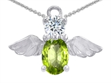 Original Star K™ Angel Of Love Protection Pendant With Oval 8x6mm Simulated Peridot style: 303619