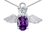 Star K™ Angel Of Love Protection Pendant Necklace With Oval 8x6mm Simulated Amethyst style: 303623