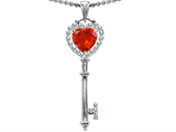 Star K™ Key To My Heart Love Pendant Necklace With 7mm Heart Shape Simulated Mexican Fire Opal style: 303646