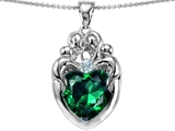 Star K™ Large Loving Mother Twins Family Pendant Necklace With 12mm Heart Simulated Emerald style: 303669
