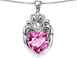 Star K™ Large Loving Mother Twin Family Pendant Necklace With 12mm Heart Created Pink Sapphire style: 303672