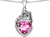 Star K™ Large Loving Mother Father With Child Family Pendant Necklace 12mm Heart Created Pink Sapphire style: 303686