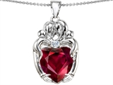Star K™ Large Loving Mother Twins Family Pendant Necklace With 12mm Heart Shape Created Ruby style: 303743