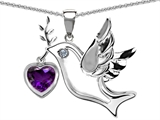 Star K™ Peace Love Dove Pendant Necklace with 7mm Heart Shape Genuine Amethyst style: 303753