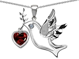 Star K™ Peace Love Dove Pendant Necklace with Simulated Heart Shape 7mm Garnet style: 303756