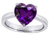 Star K™ Large 10mm Heart Shape Solitaire Ring With Simulated Amethyst style: 303773